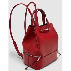 Zara Red Vegan Leather Backpack Purse